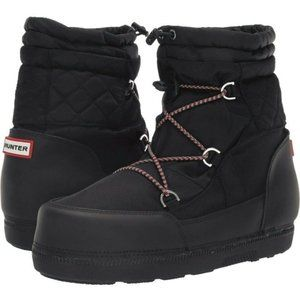 Hunter Original Black Short Quilted Snow Boots